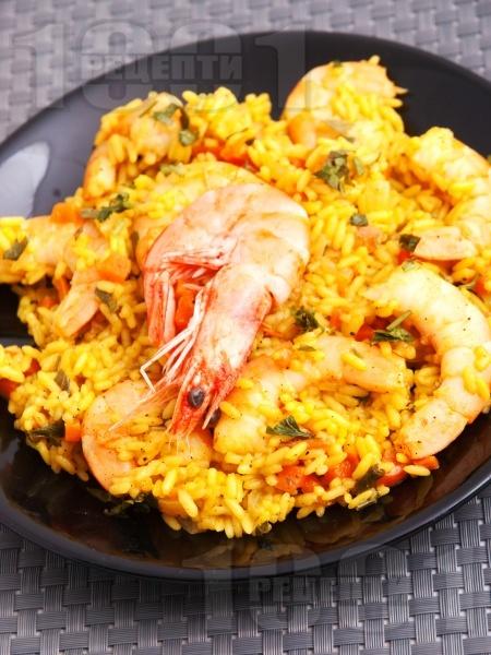 Задушен ориз със скариди и куркума в тенджера - снимка на рецептата